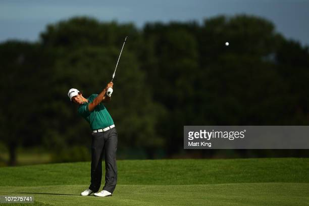Aaron Baddeley of Australia plays a fairway shot on the 17th hole during day two of the Australia Open at The Lakes Golf Club on December 3 2010 in...