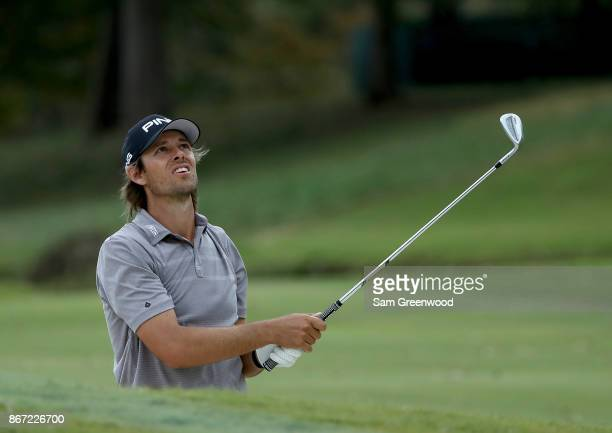 Aaron Baddeley of Australia plays a shot on the nineth hole during the second round of the Sanderson Farms Championship at the Country Club of...