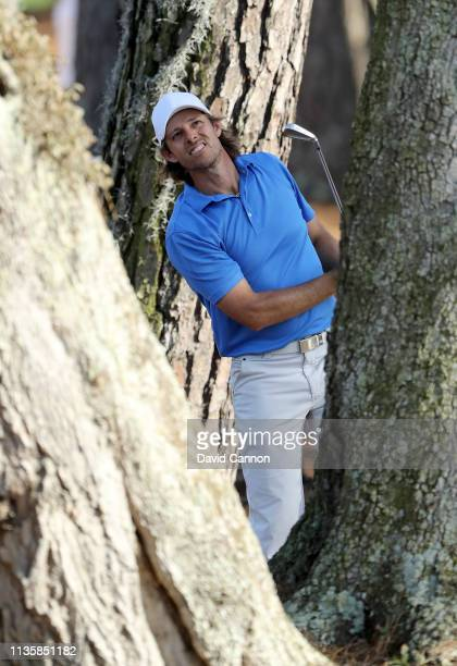 Aaron Baddeley of Australia plays his second shot on the par 4 15th hole during the first round of the 2019 Players Championship held on the Stadium...