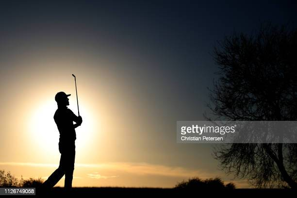 Aaron Baddeley of Australia plays his shot from the 12th tee during the second round of the Waste Management Phoenix Open at TPC Scottsdale on...
