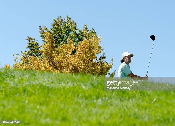 Aaron Baddeley of Australia plays his shot from the first tee during the final round of the Safeway Open at the North Course of the Silverado Resort...