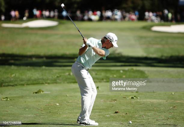 Aaron Baddeley of Australia plays his shot from the seventh tee during the final round of the Safeway Open at the North Course of the Silverado...