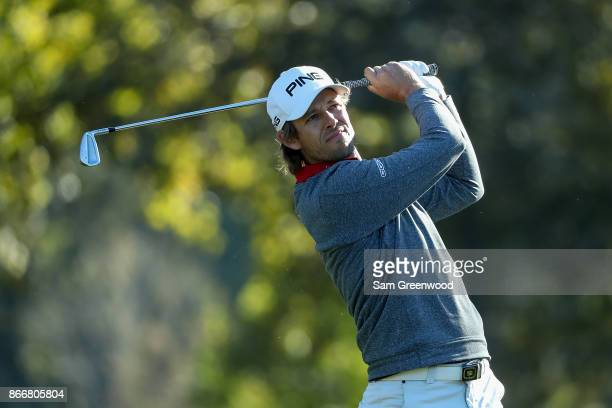 Aaron Baddeley of Australia plays his shot from the seventh tee during the First Round of the Sanderson Farms Championship at the Country Club of...
