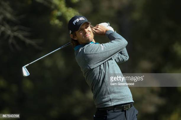Aaron Baddeley of Australia plays his shot from the seventh tee during the third round of the Sanderson Farms Championship at the Country Club of...