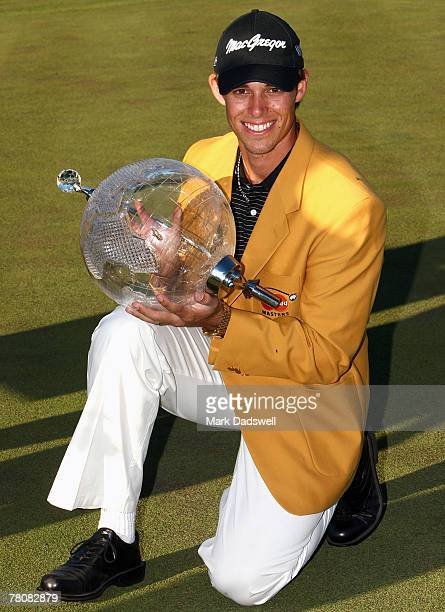 Aaron Baddeley of Australia poses with the trophy after winning the MasterCard Masters at Huntingdale Golf Course on November 25, 2007 in Melbourne,...