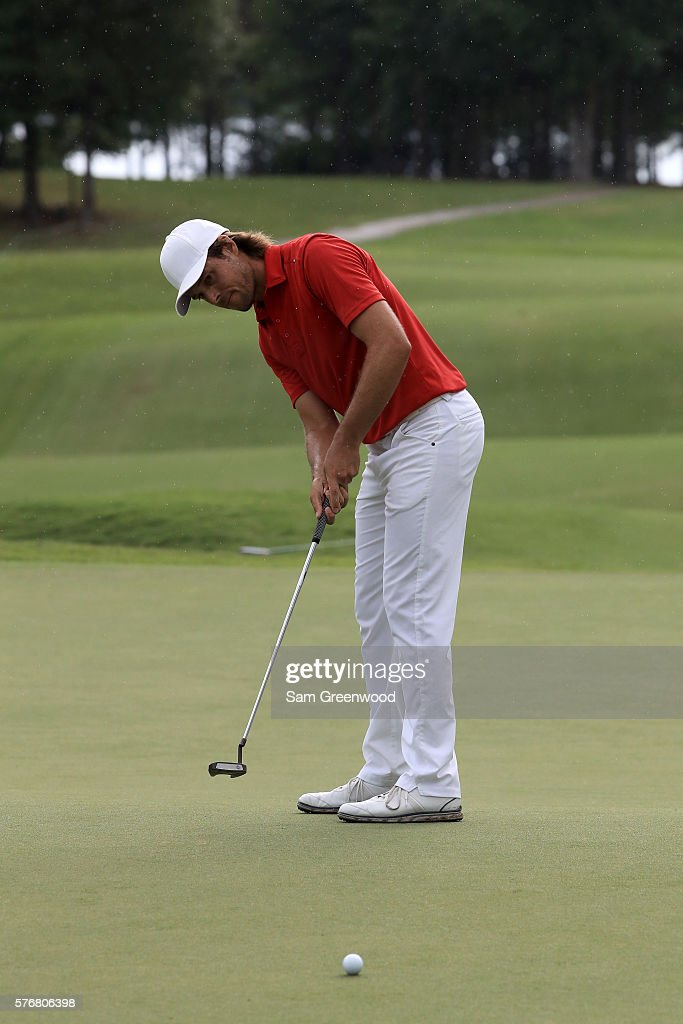 Aaron Baddeley of Australia putts on the first hole of the playoff against Si Woo Kim of Korea during the final round of the Barbasol Championship at the Robert Trent Jones Golf Trail at Grand National on July 17, 2016 in Auburn, Alabama.