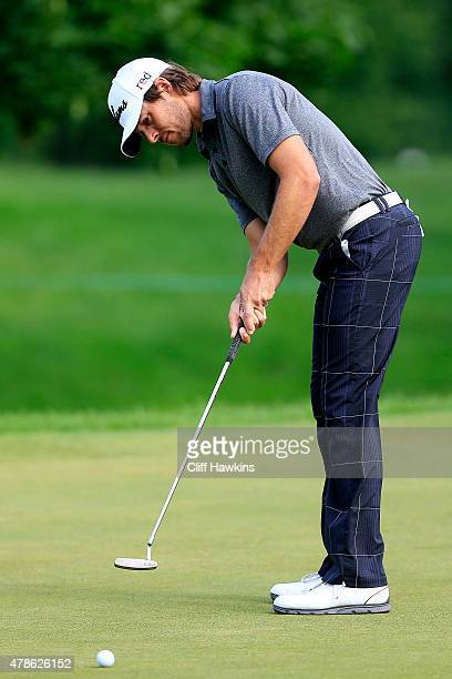 Aaron Baddeley of Australia putts on the second green during the second round of the Travelers Championship at TPC River Highlands on June 26 2015 in...