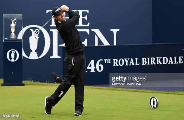 Aaron Baddeley of Australia tees off on the 1st hole during the second round of the 146th Open Championship at Royal Birkdale on July 21 2017 in...