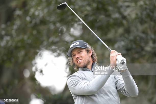 Aaron Baddeley of Australia tees off on the second hole tee box during the first round of The RSM Classic at the Sea Island Resort Plantation Course...