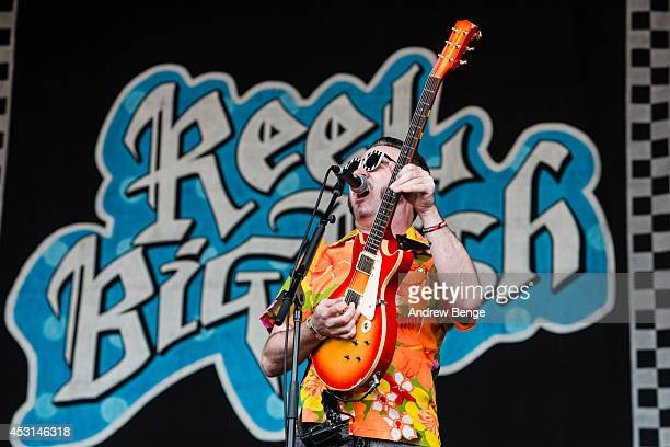 Aaron Barrett of Reel Big Fish performs on stage at Kendal Calling Festival at Lowther Deer Park on August 3 2014 in Kendal United Kingdom