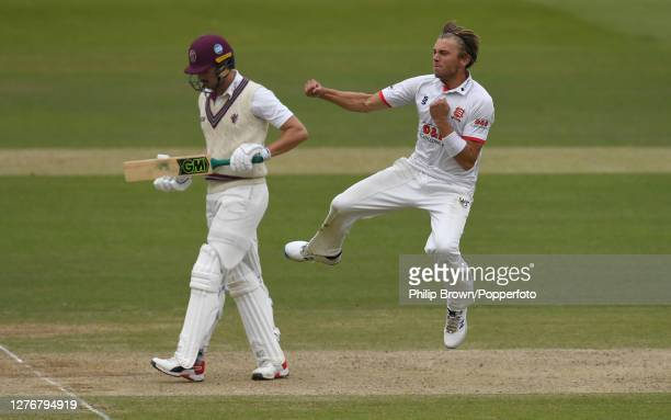 Aaron Beard of Essex celebrates after dismissing Ben Green of Somerset during the Bob Willis Trophy Final between Somerset and Essex at Lord's...