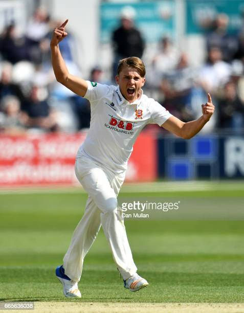 Aaron Beard of Essex celebrates taking the wicket of Liam Livingstone of Lancashire during day one of the Specsavers County Championship Division One...