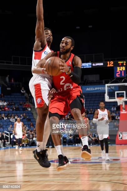 Aaron Best of the Raptors 905 goes to the basket against the Agua Caliente Clippers on March 22 2018 at the Citizens Business Bank Arena in Ontario...