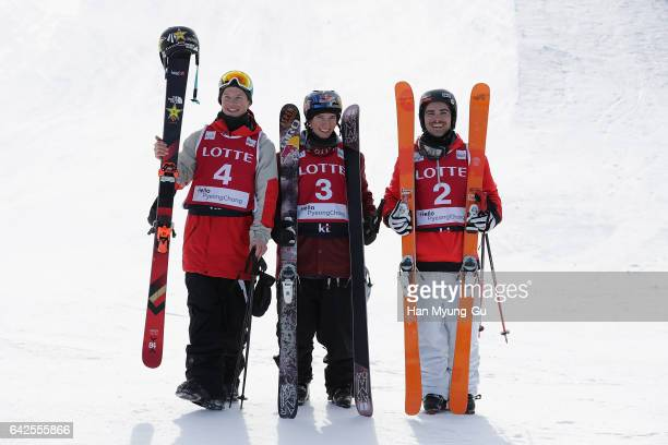 Aaron Blunck from USA in second place Torin YaterWallace from USA in first place and Benoit Valentin from France in third place in the FIS Freestyle...
