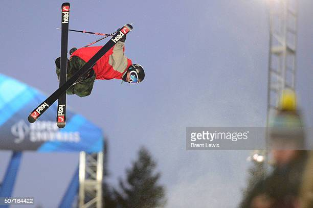 Aaron Blunck goes for a grab midair during practice runs for the 2016 Winter X Games at Buttermilk Mountain on January 27 2016 in Aspen Colorado On...