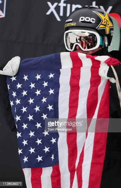 Aaron Blunck of the United States celebrates after winning the Men's Ski Halfpipe Final of the FIS Snowboard World Championships on February 09 2019...