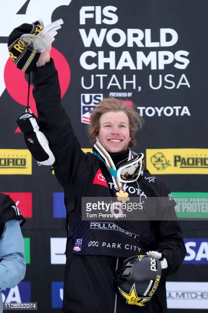 Aaron Blunck of the United States celebrates on the podium after winning the Men's Ski Halfpipe Final of the FIS Snowboard World Championships on...