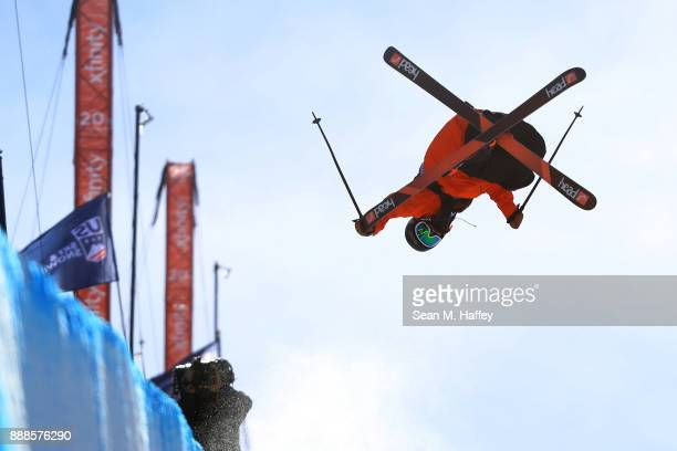 Aaron Blunck of the United States competes the finals of the FIS Freeski World Cup 2018 Men's Halfpipe during the Toyota US Grand Prix on December 8...