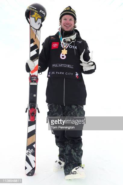 Aaron Blunck of the United States poses for a photo after winning the Men's Ski Halfpipe Final of the FIS Snowboard World Championships on February...