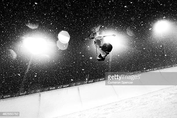 Aaron Blunck of the United States practices ahead of the Freestyle Skiing Men's Ski Halfpipe Finals on day eleven of the 2014 2014 Winter Olympics at...