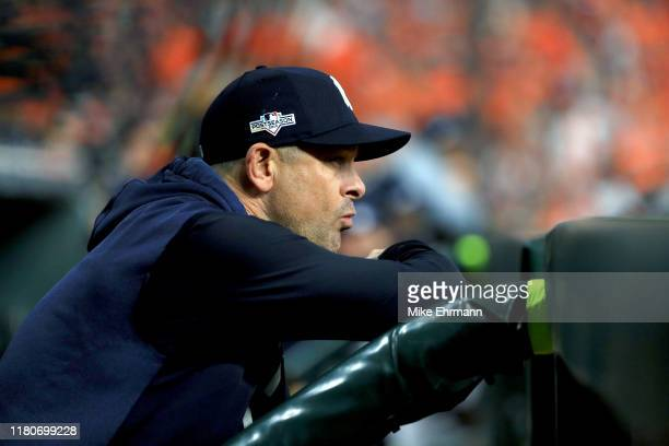 Aaron Boone of the New York Yankees looks on against the Houston Astros during the sixth inning in game one of the American League Championship...