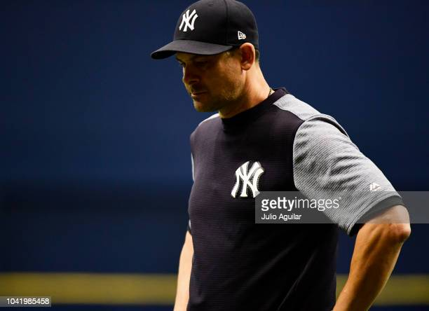 Aaron Boone of the New York Yankees reacts after CC Sabathia hit Jesus Sucre of the Tampa Bay Rays by a pitch in the sixth inning on September 27...