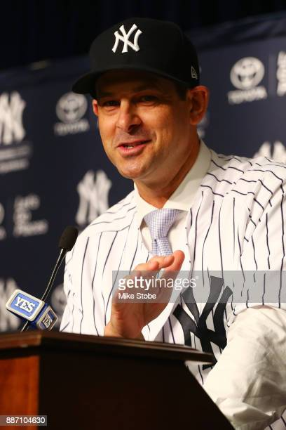 Aaron Boone speaks to the media after being introduced as manager of the New York Yankees at Yankee Stadium on December 6 2017 in the Bronx borough...