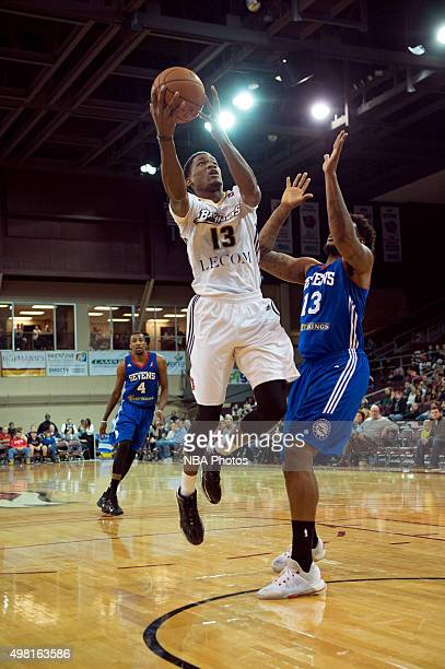 Aaron Bowen of the Erie BayHawks drives to the basket against the Delaware 87ers at the Erie Insurance Arena on November 20 2015 NOTE TO USER User...