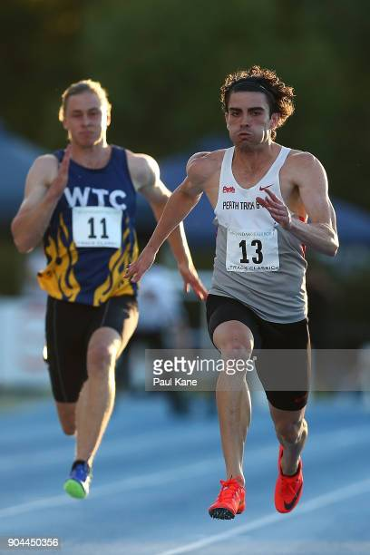 Aaron Bresland competes in the men's 100 metre during the Jandakot Airport Perth Track Classic at WA Athletics Stadium on January 13 2018 in Perth...