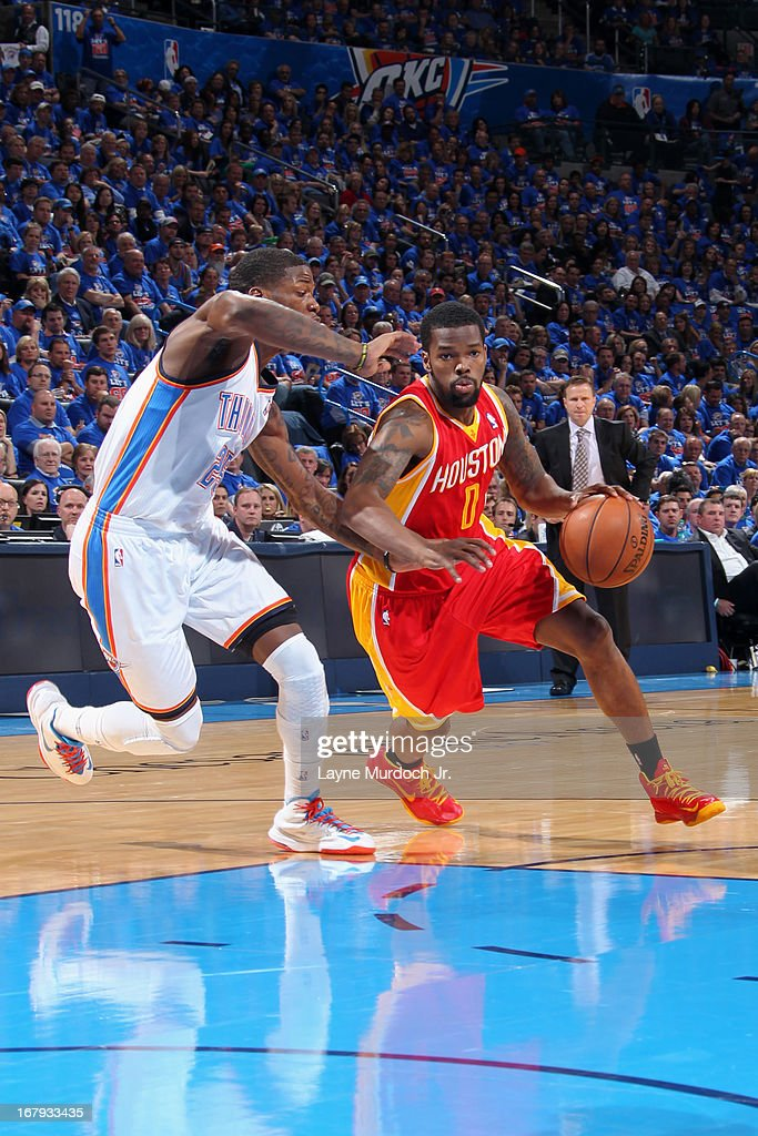 Aaron Brooks #0 of the Houston Rockets drives to the basket against the Oklahoma City Thunder in Game Five of the Western Conference Quarterfinals during the 2013 NBA Playoffs on May 1, 2013 at the Chesapeake Energy Arena in Oklahoma City, Oklahoma.