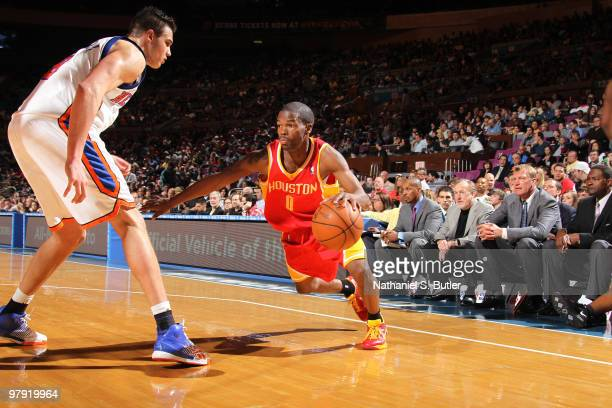 Aaron Brooks of the Houston Rockets in action against Danilo Gallinari of the New York Knicks on March 21, 2010 at Madison Square Garden in New York...