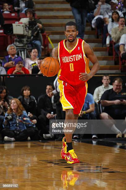 Aaron Brooks of the Houston Rockets takes the ball upcourt during the game against the Sacramento Kings at Arco Arena on April 12 2010 in Sacramento...