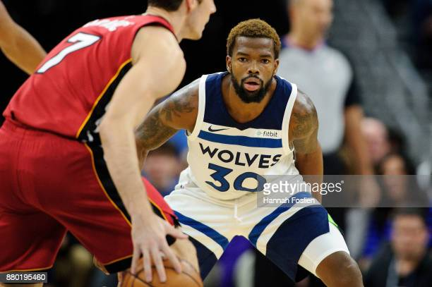 Aaron Brooks of the Minnesota Timberwolves defends against Goran Dragic of the Miami Heat during the game on November 24, 2017 at the Target Center...