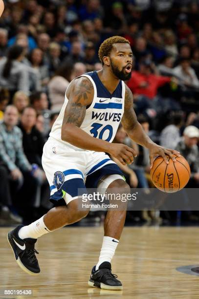 Aaron Brooks of the Minnesota Timberwolves dribbles the ball against the Miami Heat during the game on November 24, 2017 at the Target Center in...