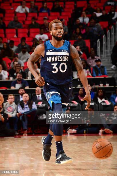 Aaron Brooks of the Minnesota Timberwolves handles the ball against the Detroit Pistons on October 25 2017 at Little Caesars Arena in Detroit...