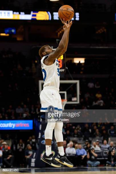 Aaron Brooks of the Minnesota Timberwolves shoots the ball against the Indiana Pacers during the game on October 24 2017 at the Target Center in...