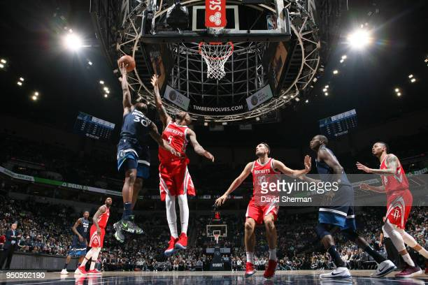Aaron Brooks of the Minnesota Timberwolves shoots the ball against the Houston Rockets in Game Four of Round One of the 2018 NBA Playoffs on April 23...