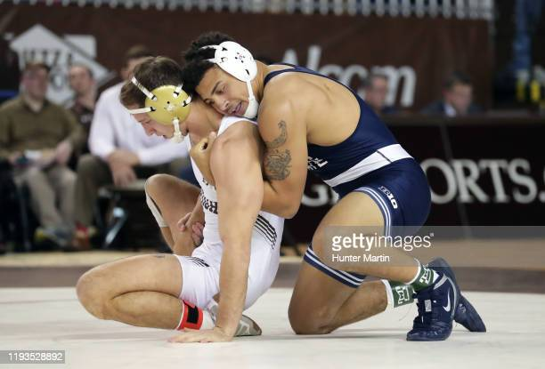 Aaron Brooks of the Penn State Nittany Lions wrestles Chris Weiler of the Lehigh Mountain Hawks during a match at Stabler Arena on the campus of...