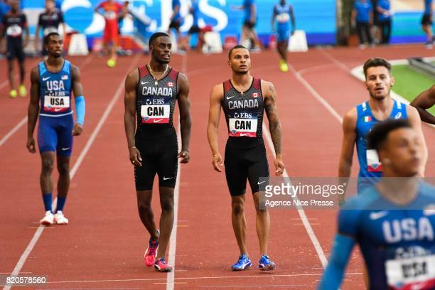 Aaron Brown and Andre de Grasse of Canada Men's 4x100m relay during the IAAF Diamond League Meeting Herculis on July 21 2017 in Monaco Monaco