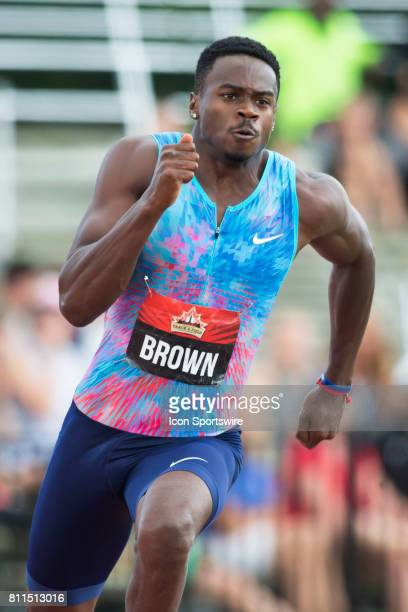 Aaron Brown in the 200m semifinals at the Canadian Track and Field Championships on 8 July 2017 at the Terry Fox Athletic Facility in Ottawa Canada