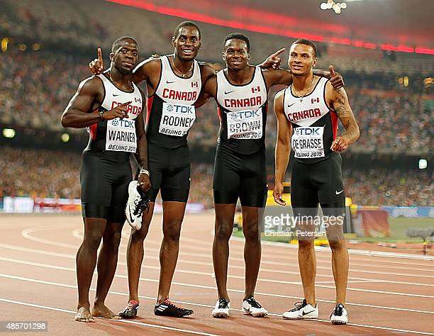 Aaron Brown of Canada Andre De Grasse of Canada Brendon Rodney of Canada and Justyn Warner of Canada celebrate after winning bronze in the Men's...