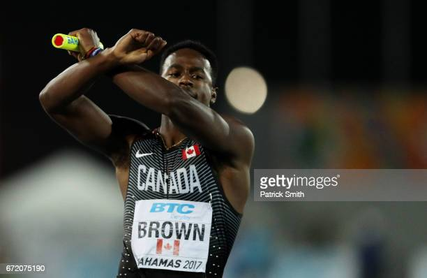 Aaron Brown of Canada celebrates after the Men's 4x200 Metres Relay Final during the IAAF/BTC World Relays Bahamas 2017 at Thomas Robinson Stadium on...