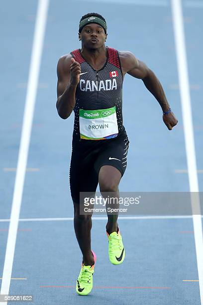 Aaron Brown of Canada compete in the Men's 100m Round 1 on Day 8 of the Rio 2016 Olympic Games at the Olympic Stadium on August 13 2016 in Rio de...