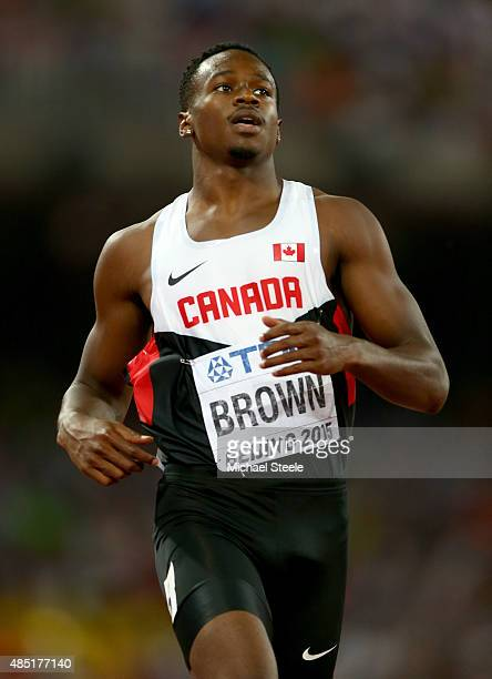 Aaron Brown of Canada competes in the Men's 200 metres heats during day four of the 15th IAAF World Athletics Championships Beijing 2015 at Beijing...