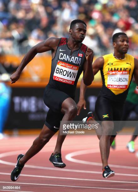 Aaron Brown of Canada competes in the Men's 200 metres heats during the Athletics on day six of the Gold Coast 2018 Commonwealth Games at Carrara...