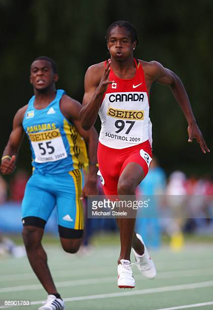 Aaron Brown of Canada in the boy's 100m 2nd round during day one of the IAAF World Youth Championships at the Bressanone Sports Complex on July 8...