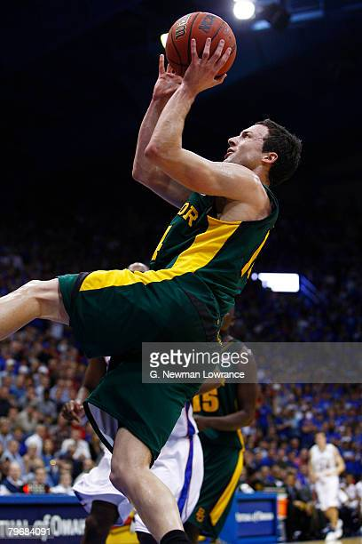 Aaron Bruce of the Baylor Bears goes up for a shot against the Kansas Jayhawks on February 9, 2008 at Allen Fieldhouse in Lawrence, Kansas. Kansas...