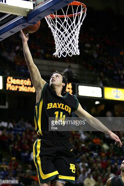 Aaron Bruce of the Baylor Bears lays the ball up in the second half against the Iowa State Cyclones in Day 1 of the Phillips 66 Big 12 Men?s...