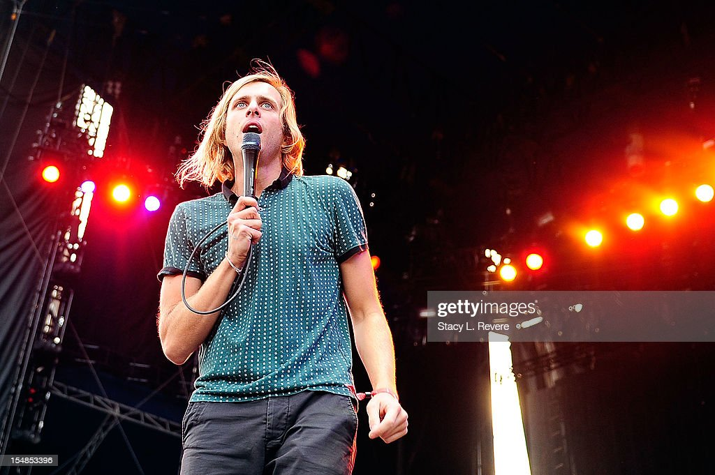 Aaron Bruno, vocalist for AWOLNATION, performs during the 2012 Voodoo Experience at City Park on October 27, 2012 in New Orleans, Louisiana.
