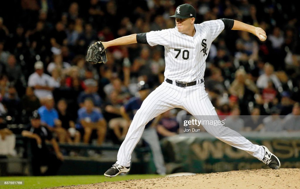 Aaron Bummer #70 of the Chicago White Sox pitches against the Minnesota Twins during the seventh inning at Guaranteed Rate Field on August 22, 2017 in Chicago, Illinois.
